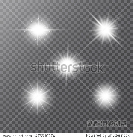 Set of white glowing light burst explosion with transparent. Vector illustration for cool effect decoration with ray sparkles. Bright star. Transparent shine gradient glitter  bright flare. sun and