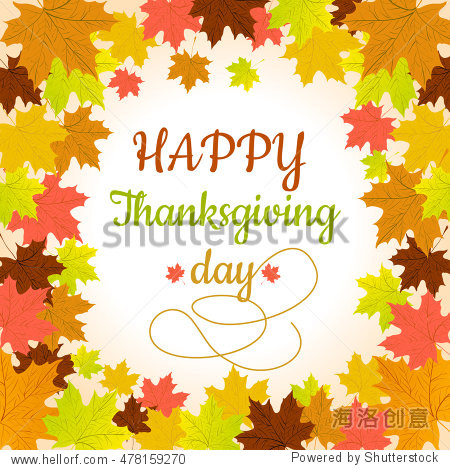 Happy Thanksgiving background with maples leaves. Vector illustration.