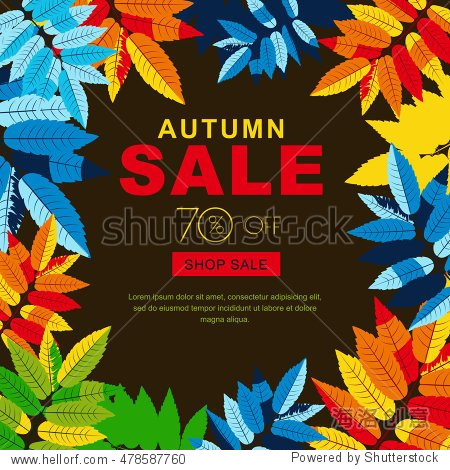 Autumn sale banners with multicolor autumn leaves. Vector fall poster background. Layout for discount labels  flyers and shopping.