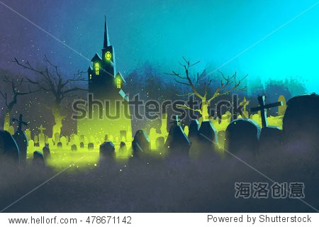 spooky castle Halloween concept cemetery at night illustration painting