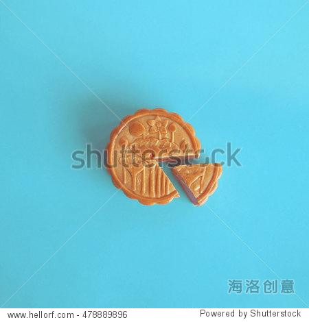 Fashion mooncake for the Chinese Mid-Autumn Festival. Flat Lay. Minimalism style.