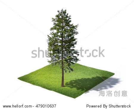 3d rendered illustration of sliced ground with grass and tree isolated on white background