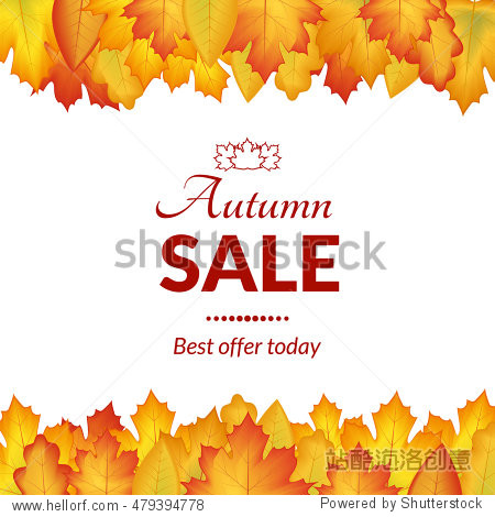 vector illustration. The design of the poster autumn sales. Yellow  orange leaves on a white background  frame for text.