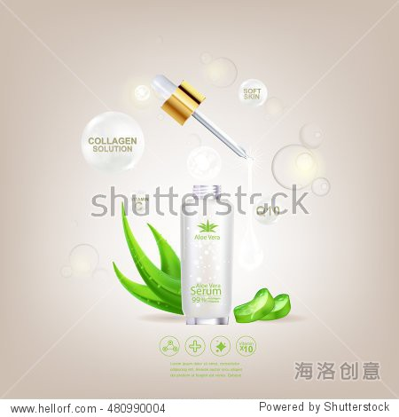 Aloe Vera Serum and Collagen Natural Extracts Vitamin for Skin Care Cosmetic Background Vector Concept .