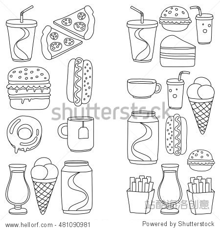 Hand drawn vector doodle icons for fast food menu  restaraunt