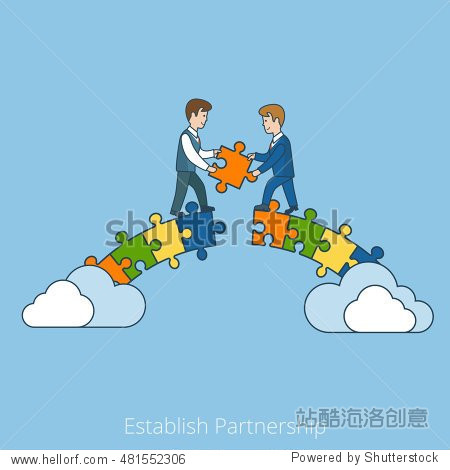 Linear Flat Two businessmen building bridge with puzzle pieces vector illustration. Establish Partnership business concept.