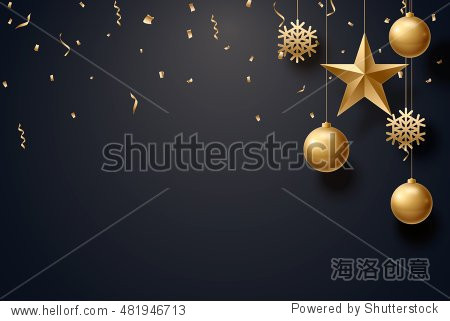 vector illustration of christmas 2017 background with christmas ball star snowflake confetti gold and black colors lace for text 2018 2019