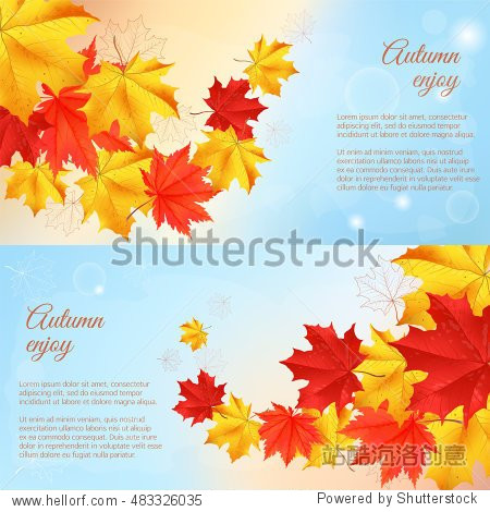 Autumn orange  red  yellow maple leaves in curved line on blue background. Realistic vector illustration. Concept for autumn seasonal sale  autumn congratulations banner  poster or card.