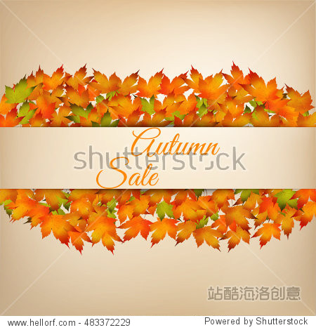 Background for autumn sale with bright orange leaves. Vector illustration