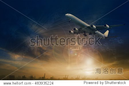 commercial plane flying over transport scene and freight logistic business network background