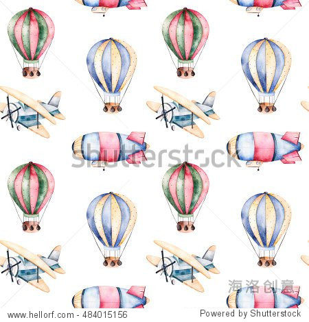 Seamless pattern with air balloons airship and the plane in pastel colors.Watercolor air ballons beautifully decorated on white background and other aircrafts.Perfect for wallpaper kids texture gift