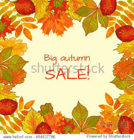 Colorful autumn background with falling leaves. Big sale. Drawing by hand.
