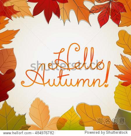 Hello autumn logo. Fall vector concept