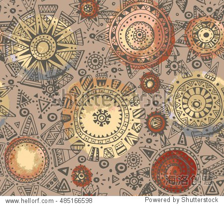 Vector seamless pattern with graphic doodle suns  stars and tribal elements. Hand drawn endless background in brown colors with many elements and watercolor texture. Modern fashion textile design