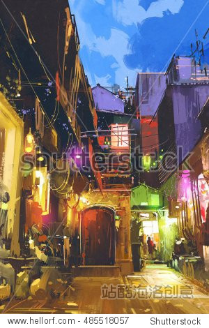 illustration painting of beautiful village with colorful light