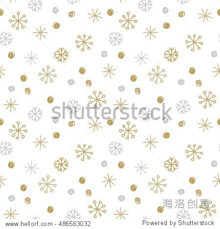 Vector Seamless Winter Pattern Background with Sikver and Gold Snowflakes. Can be used for textile  parer  scrapbooking  wrapping  web and print design