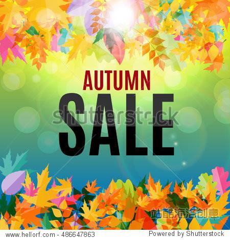 Shiny Autumn Leaves Sale Background  Illustration