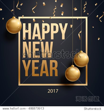 vector illustration of happy new year 2018 gold and black collors place for text christmas balls 2017 2019