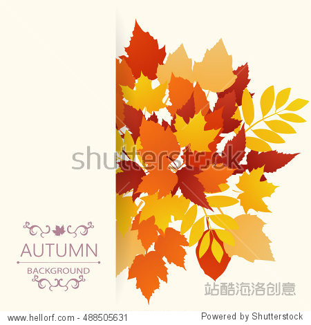 Autumn background from leaves of different colors with the inscription