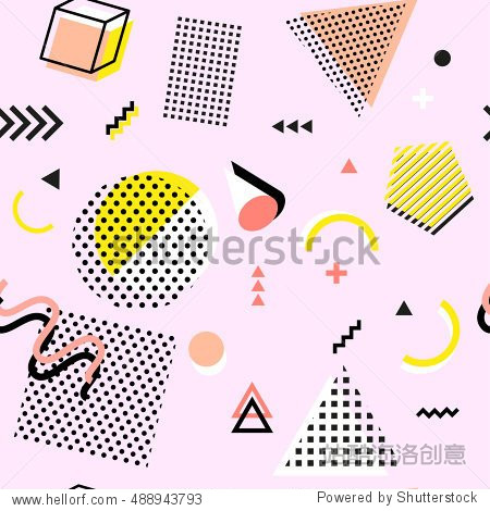 Retro vintage 80s or 90s fashion style. Memphis seamless pattern. Trendy geometric elements. Modern abstract design. Good for textile fabric. Rasterized Copy  illustration.