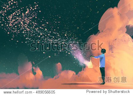 man holding a cage with floating shining stardust illustration painting