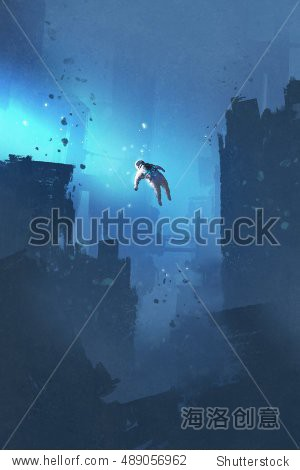 astronaut floating in abandoned city mysterious space illustration painting