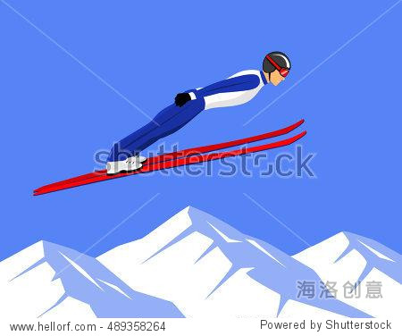Winter Athletic Sports Ski Jumping Vector illustration.