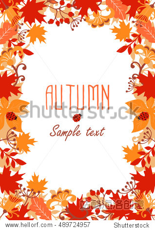 Frame of autumn leaves. Autumn background. Autumn leaves. Vector illustration.