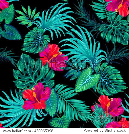 amazing vector tropical pattern. intricate Palms and hibiscus. Vector botanical. black  dark colors. fashion print.