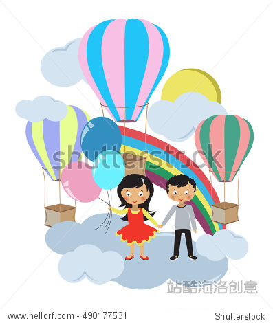 Children stand in a cloud on a white background