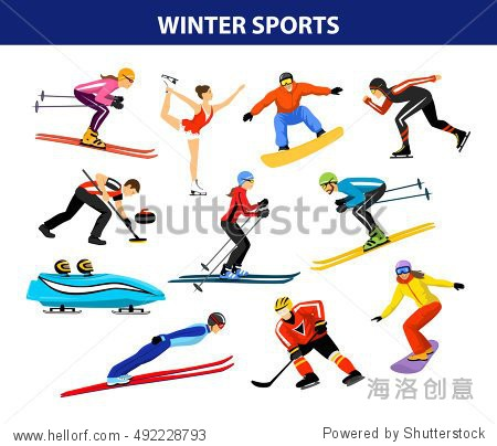 Winter Ice Snow Sports Set including cross country  freestyle skiing  snowboarding  speed skating  sliding  bobsled  ski jumping  curling and figure skating. Male and female sportsman