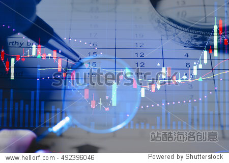Double exposure of business working items with a digital information for Forex market  Gold market and Stock market trading. Business background as concept.