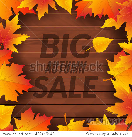 Big autumn sale design template poster. Fall promotional flyer. Autumn Discounts offers design with leaves on wooden background.