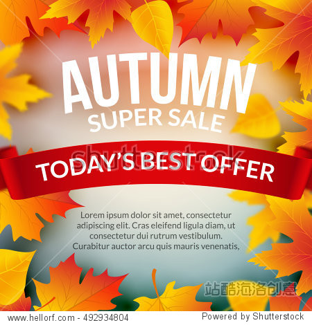 Big autumn sale design template poster. Fall promotional flyer. Autumn discount best offer design with leaves.
