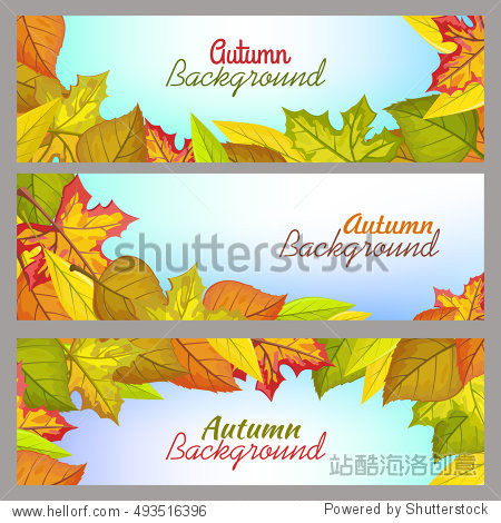 Set of autumn background banners. Flat design vector. Horizontal illustrations with fallen colored tree leaves  blue gradient background and sample text. For nature concepts  seasonally ad design