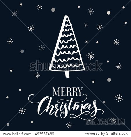 Merry Christmas card design. Dark background with snowflakes and hand drawn Christmas tree