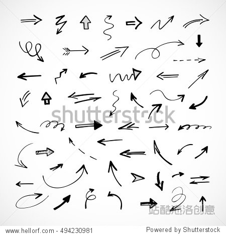 hand-drawn arrows  vector set