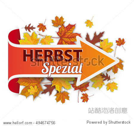 German text Herbstspezial  translate Autumn Special Eps 10 vector file.