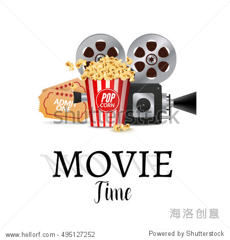 Cinema movie poster design template. Filmstrip  tickets. Movie time background banner shining sign.