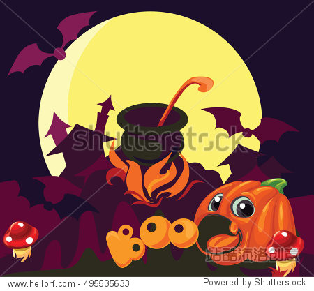 vector cartoon background halloween decorations for children's parties  cards and other