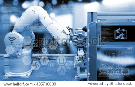Industry4.0 concept .Industry graphic sign and blue tone of automate wireless Robot arm in smart factory background. blue tone