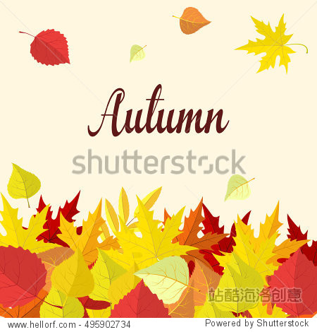Autumn background with colorful leaves. Autumn card template  banner advertising illustration Raster version