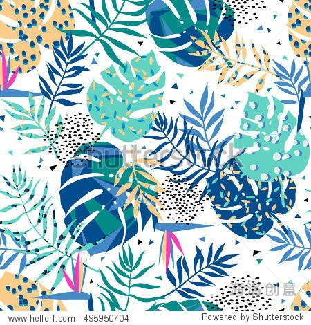 vector seamless graphical tropical leaves bright pattern with vibrant texture in pop art style  modern summer background allover print. split leaf  philodendron  monstera leaves