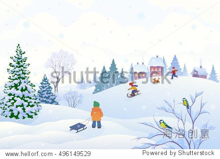 Vector cartoon illustration of a winter scene in a small snowy village with playing kids