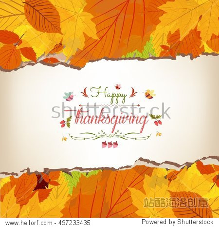 Happy Thanksgiving with maple leaves background