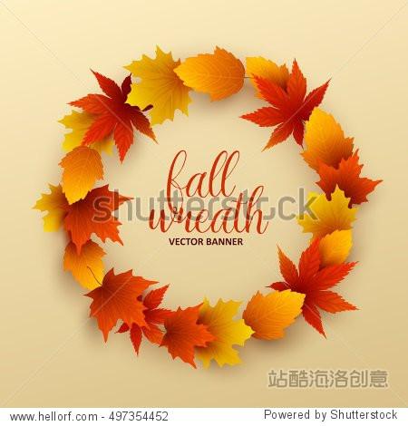 Vector wreath of autumn leaves.