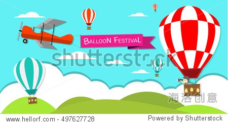 hot air balloon in the sky vector/illustration/background.Balloon festival