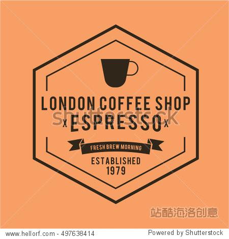 coffee cafe emblem vintage hipster set