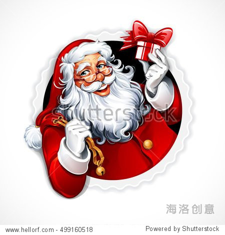 Vector vintage Christmas badge with cartoon Santa Claus holding a present. Retro illustration.