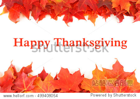 red autumn maple leaves with text Happy Thanksgiving
